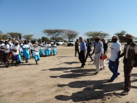 United States Ambassador to Kenya Bob Godec arrives to at Napeikar Core Innovation Group in Turkana County on 29th March 2017. Through training carried out by the USAID Accelerated Value Chain Development and implemented by the International Livestock Research Institute in collaboration with the Turkana County Government, group members are equipped with improved livestock herd management knowledge. Photo Credit: USAID