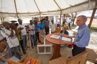 United States Ambassador to Kenya Bob Godec addresses members of the media at The Cradle Hotel in Lodwar on 29th March 2017. He was briefing them on his 2-day visit to project supported by the United States in Marsabit and Turkana counties. Photo Credit: USAID