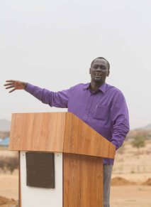 Turkana Governor Koli Nanok addresses members of the media at The Cradle Hotel, Lodwar on 28th March 2017. The U.S. Government launched three projects to boost economic growth and improve water, sanitation and hygiene services in Kenya worth $38 million. Photo Credit: USAID