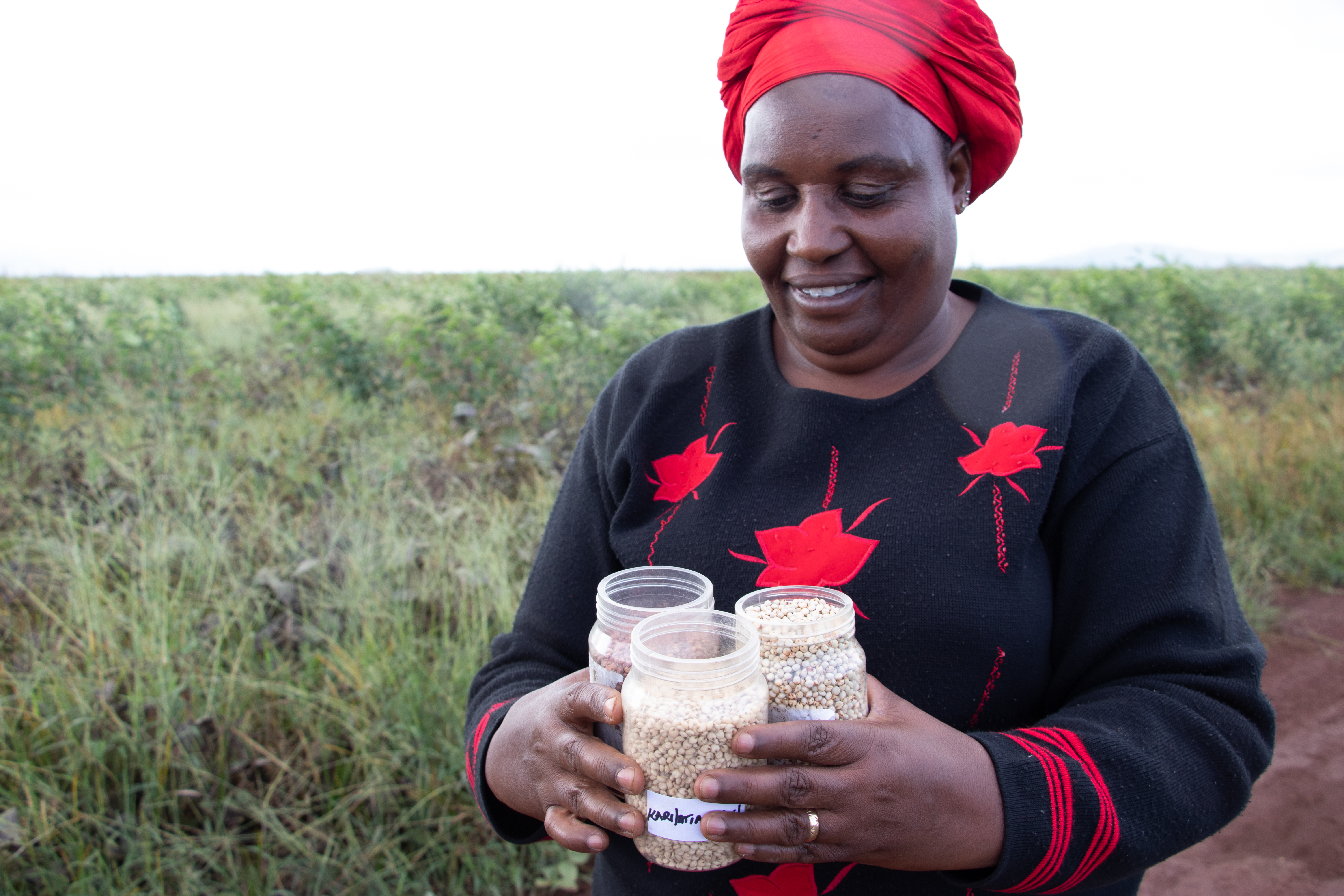 Farmer shows her certified seed in Emali, Makueni County